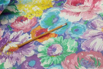 vintage cotton chintz fabric, candy colored tropical flowers floral print