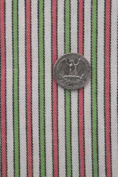 vintage cotton cloth for kitchen linens or ticking, pink & green woven striped fabric