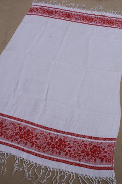 Vintage cotton damask table runner kitchen cloth towel w for Table no border