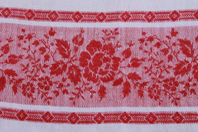 vintage cotton damask table runner kitchen cloth towel w/ red rose border