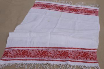 vintage cotton damask table runner kitchen cloth towel w/ red rose border