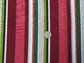 vintage cotton decorator fabric, 50s pink/maroon/grey/apple green
