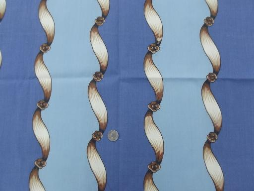 vintage cotton decorator upholstery fabric, twisting ribbons on blue