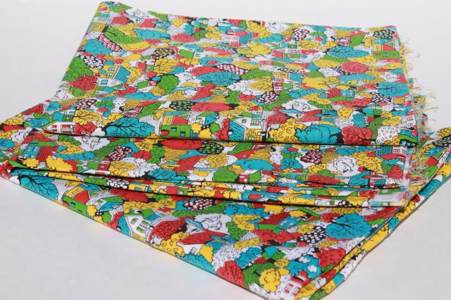 vintage cotton duck fabric, cottage print tiny houses in bright colors