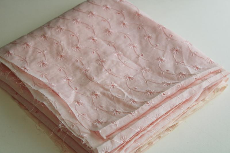 vintage cotton embroidered eyelet fabric, pretty shell pink color