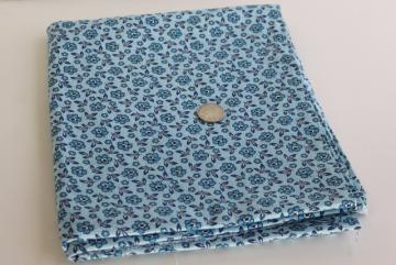 vintage cotton fabric 36 wide quilting weight material, shades of blue flower print