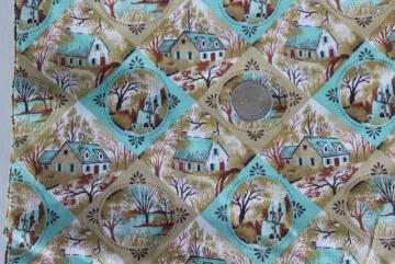 vintage cotton fabric, Currier and Ives scenes print in mint green & tan