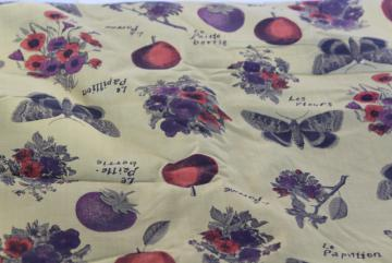 vintage cotton fabric, French botanical print fruit butterflies 7 yds 38 wide