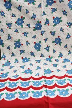 vintage cotton fabric w/ border print, red & blue scallops dotted flowers