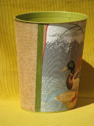 Vintage Cotton Fabric Covered Metal Wastebasket Mallard Ducks Print