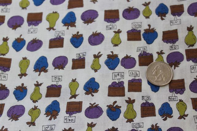 vintage cotton fabric farm stand fruit crates vegetables print blue green purple
