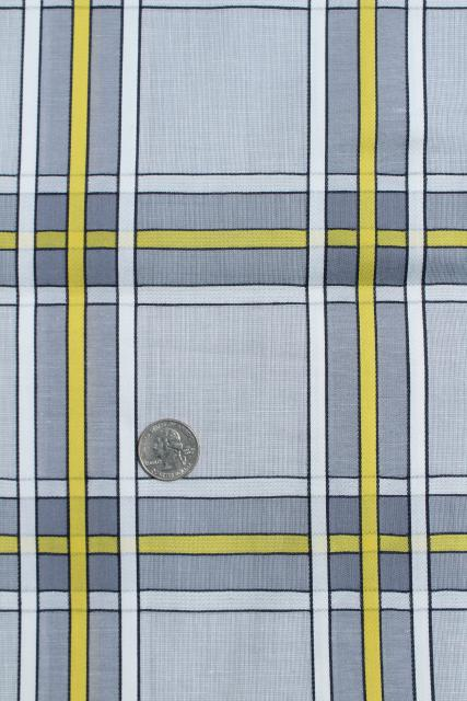 vintage cotton fabric, grey & yellow checked plaid, retro mid century modern