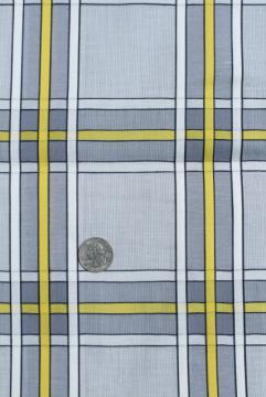 vintage cotton fabric, grey & yellow checked plaid, retro mid century modern