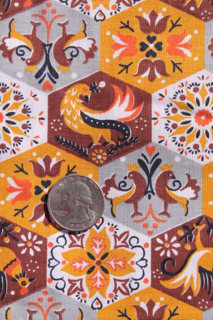 vintage cotton fabric, hexagon blocks hexies cheater patchwork print w/ folk art roosters