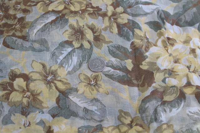 vintage cotton fabric, light floaty dress material soft golden brown & grey floral print