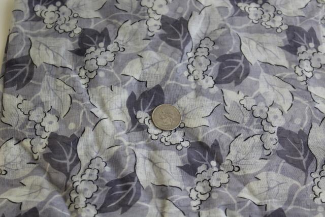 vintage cotton fabric, light floaty dress material soft grey floral print
