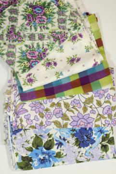 vintage cotton fabric lot lavender & purple prints, retro girly florals
