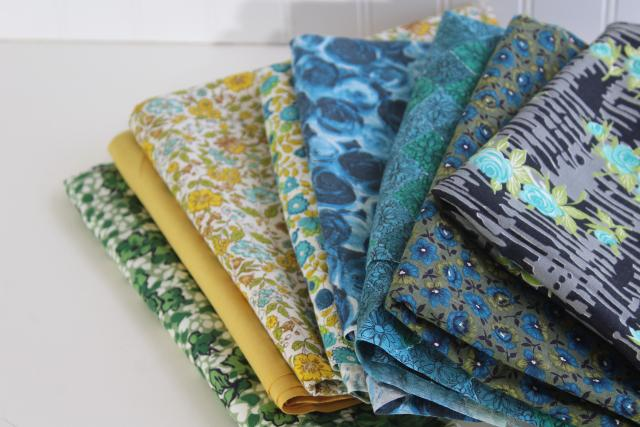 vintage cotton fabric, lot of blue green gold prints for quilting or small projects