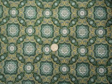 vintage cotton fabric, medium weight duck w/ 60s retro  print in green