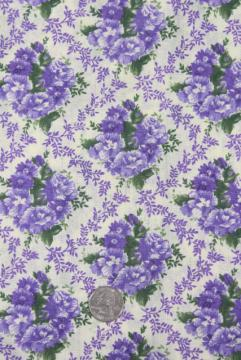 vintage cotton fabric w/ purple flowers print, retro mid-century floral