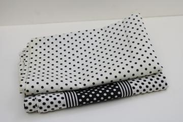vintage cotton fabric quilting weight black & white dots polka dotted prints