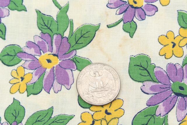 vintage cotton fabric, quilting weight material w/ floral print in lavender & yellow