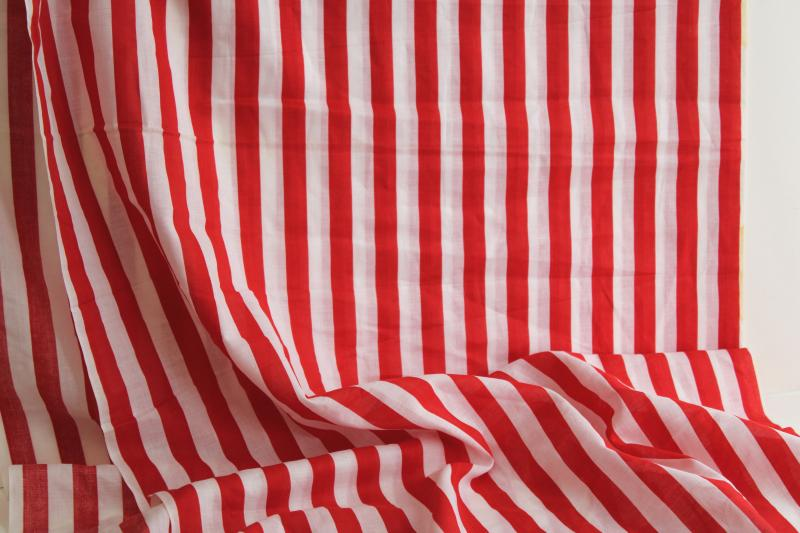 vintage cotton fabric, red & white stripe for holiday sewing projects, decorations