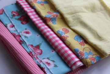 vintage cotton fabric, remnant lot 40s feedsack print, pink gingham, yellow dotted swiss