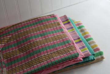 vintage cotton fabric, remnant lot preppy pink green stripes prints solid colors