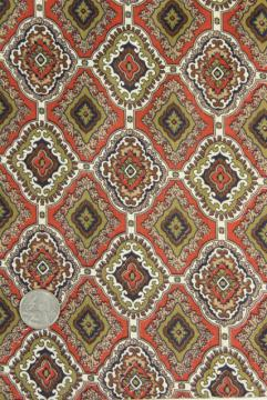 vintage cotton fabric, tile print in terracotta red, olive green, brown