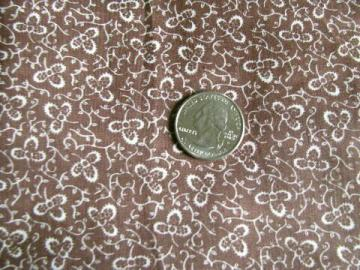 vintage cotton fabric, tiny white clover leaf print on cocoa brown