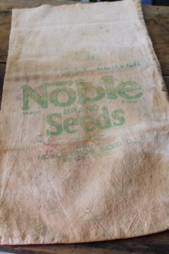 vintage cotton farm seed feedsack printed Noble Seeds Gibson City Illinois