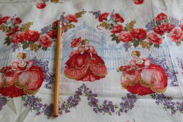 vintage cotton feed or flour sack fabric, rose garden belles w/ parasols print