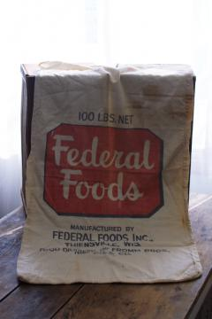vintage cotton feed or flour sack w/ print advertising Federal Foods Thiensville Wisconsin