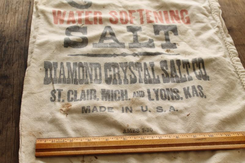 vintage cotton feed sack, Diamond Crystal salt sack w/ printed graphics