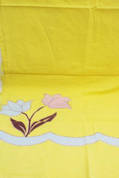 vintage cotton feed sack fabric, applique print, calico tulips on yellow