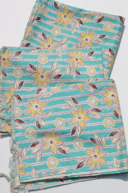 vintage cotton feed sack fabric w/ aqua & yellow flower print, matched sacks lot