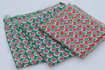 vintage cotton feed sack fabric, barn red & green flowered print cotton sacking