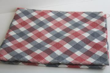 vintage cotton feed sack fabric, barn red & navy blue print plaid