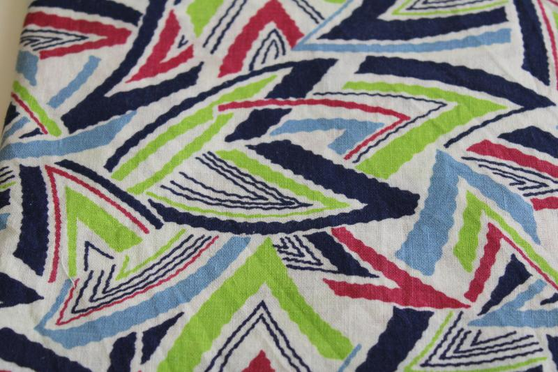 vintage cotton feed sack fabric, deco zigzag triangles print in navy, plum, blue, apple green
