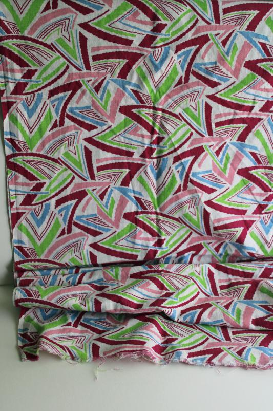vintage cotton feed sack fabric, deco zigzag triangles print in wine, pink, sky blue, lime green