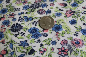 vintage cotton feed sack fabric, ditsy print floral in preppy pink, blue, green