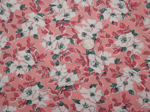 vintage cotton feed sack fabric, dogwood flowers floral print on coral pink