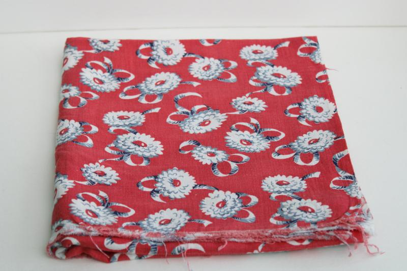 vintage cotton feed sack fabric, floral print grey daisies & ribbon bows on red