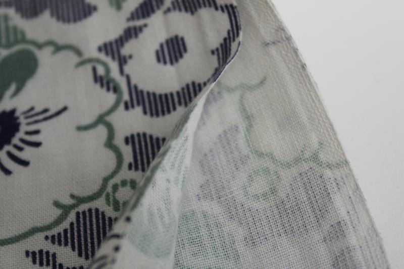 vintage cotton feed sack fabric, floral print sage green & deep blue