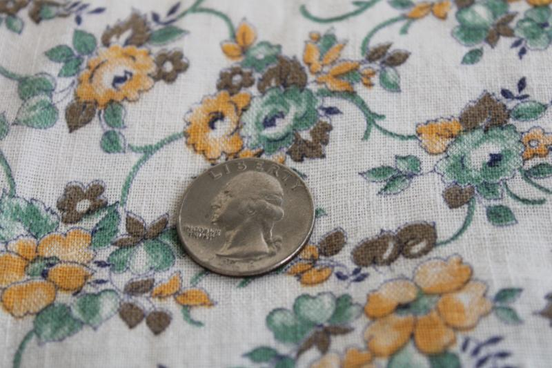 vintage cotton feed sack fabric, girly floral print flowers in soft green & yellow