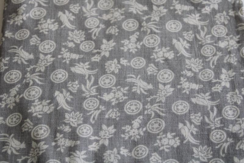 vintage cotton feed sack fabric, grey and white floral print small flowers