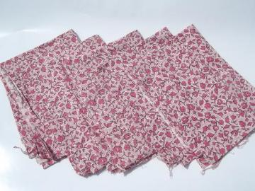 vintage cotton feed sack fabric, matched sacks lot in rose red & white  print