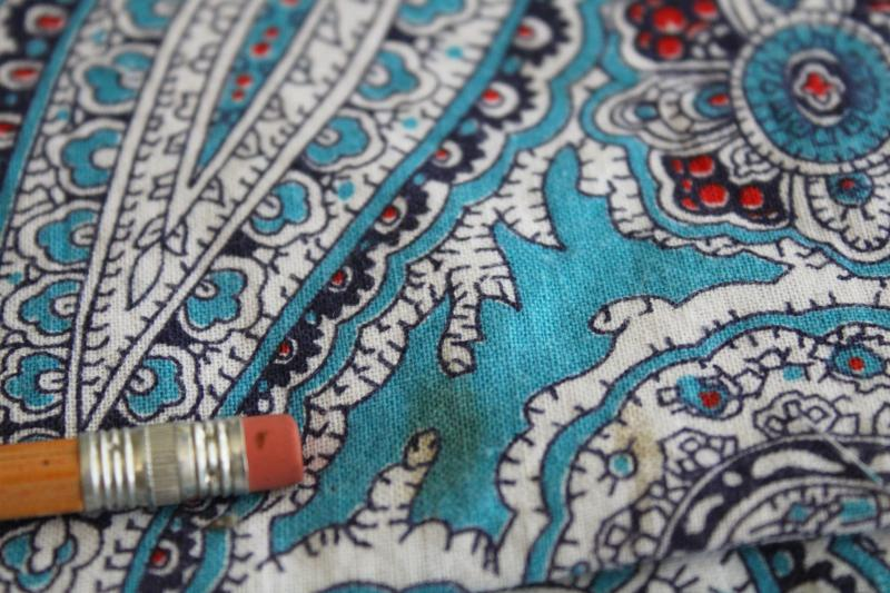 vintage cotton feed sack fabric, paisley print aqua blue w/ white & red