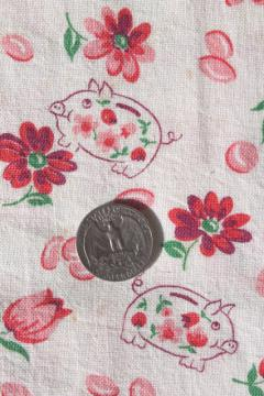 vintage cotton feed sack fabric w/ piggy bank little pigs novelty print, so cute!